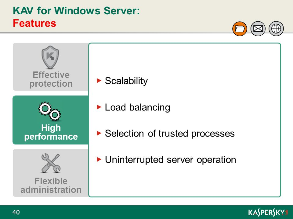 KAV for Windows Server: Features 40 Effective protection High performance Flexible administration Scalability Load balancing Selection of trusted proc