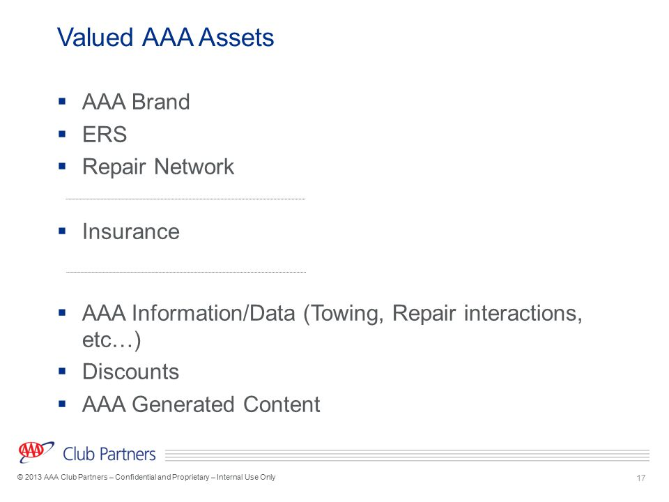 17 © 2013 AAA Club Partners – Confidential and Proprietary – Internal Use Only Valued AAA Assets  AAA Brand  ERS  Repair Network  Insurance  AAA