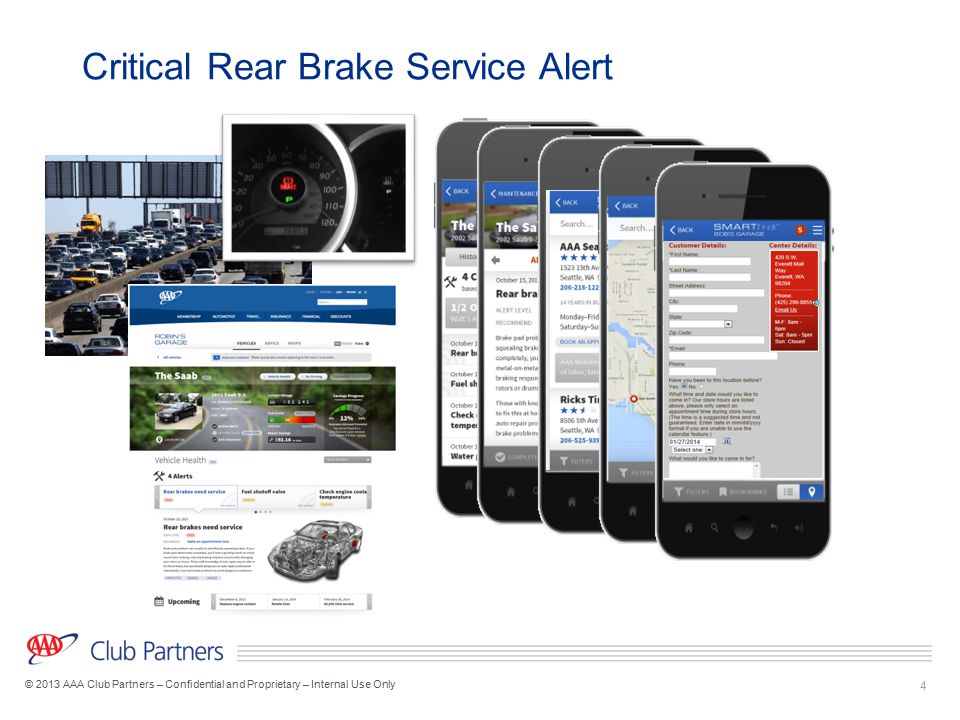 4 © 2013 AAA Club Partners – Confidential and Proprietary – Internal Use Only Critical Rear Brake Service Alert Get an example of a repair booking scr