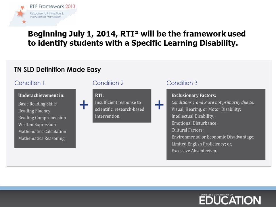 Beginning July 1, 2014, RTI² will be the framework used to identify students with a Specific Learning Disability.