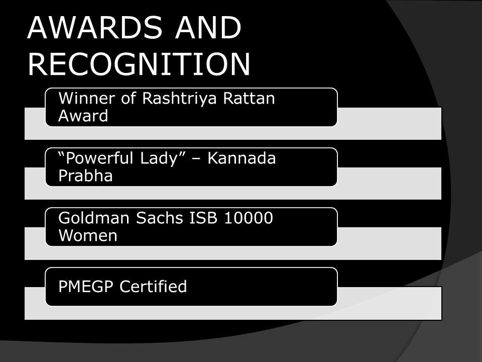 "AWARDS AND RECOGNITION Winner of Rashtriya Rattan Award ""Powerful Lady"" – Kannada Prabha Goldman Sachs ISB 10000 Women PMEGP Certified"