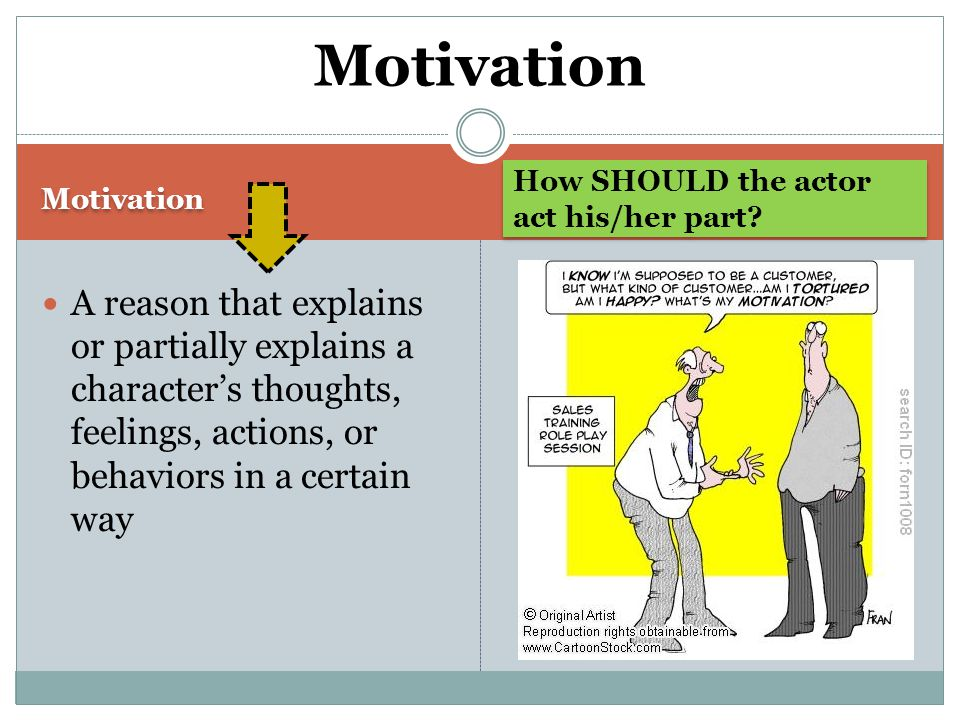 Motivation How SHOULD the actor act his/her part.