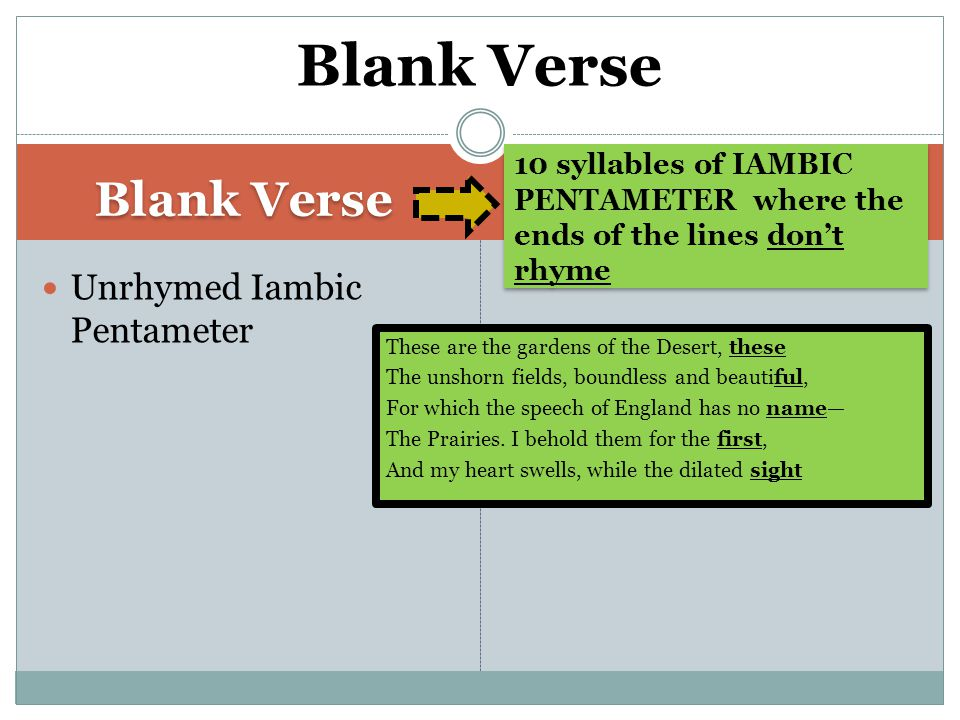Blank Verse 10 syllables of IAMBIC PENTAMETER where the ends of the lines don't rhyme Unrhymed Iambic Pentameter Blank Verse These are the gardens of the Desert, these The unshorn fields, boundless and beautiful, For which the speech of England has no name— The Prairies.