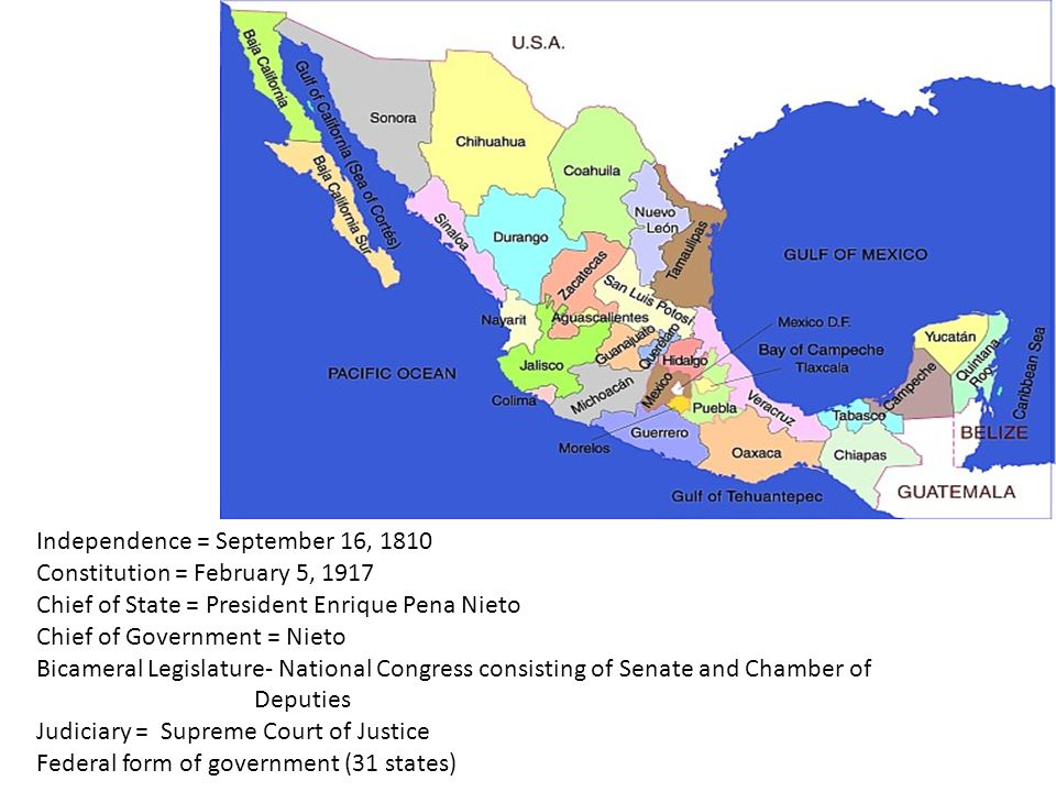 Independence = September 16, 1810 Constitution = February 5, 1917 Chief of State = President Enrique Pena Nieto Chief of Government = Nieto Bicameral Legislature- National Congress consisting of Senate and Chamber of Deputies Judiciary = Supreme Court of Justice Federal form of government (31 states)