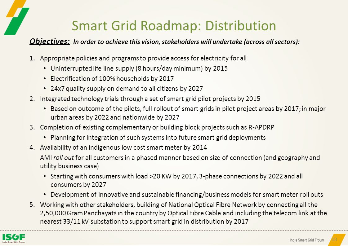 Smart Grid Roadmap: Distribution Objectives: In order to achieve this vision, stakeholders will undertake (across all sectors): 1.Appropriate policies