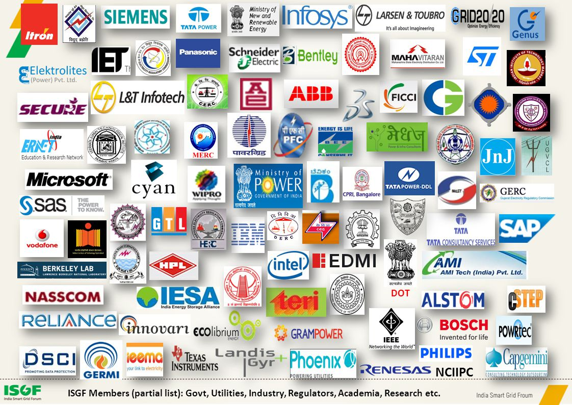 DOT ISGF Members (partial list): Govt, Utilities, Industry, Regulators, Academia, Research etc. NCIIPC