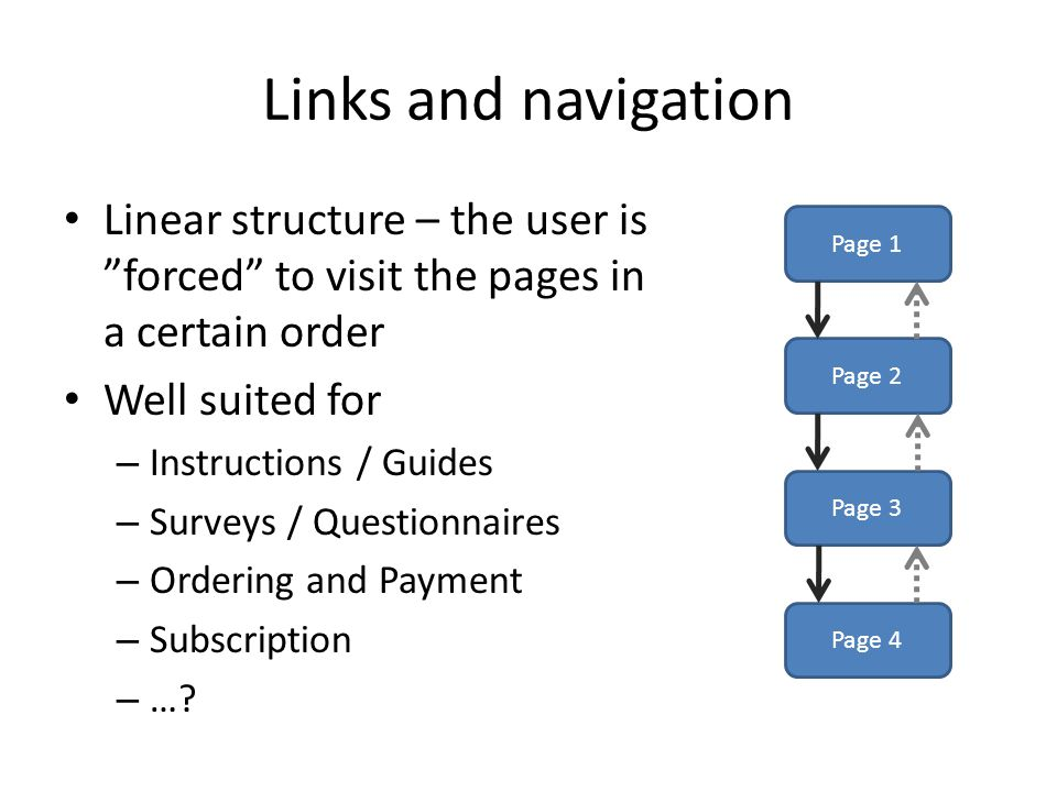 Links and navigation Linear structure – the user is forced to visit the pages in a certain order Well suited for – Instructions / Guides – Surveys / Questionnaires – Ordering and Payment – Subscription – ….