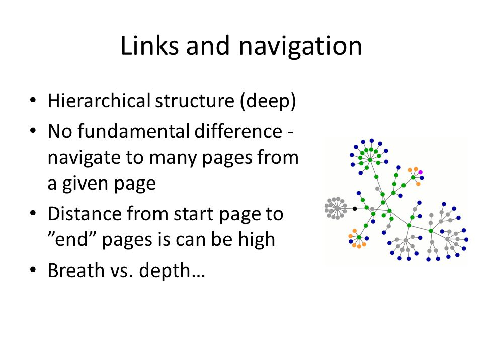 """Links and navigation Hierarchical structure (deep) No fundamental difference - navigate to many pages from a given page Distance from start page to """"e"""