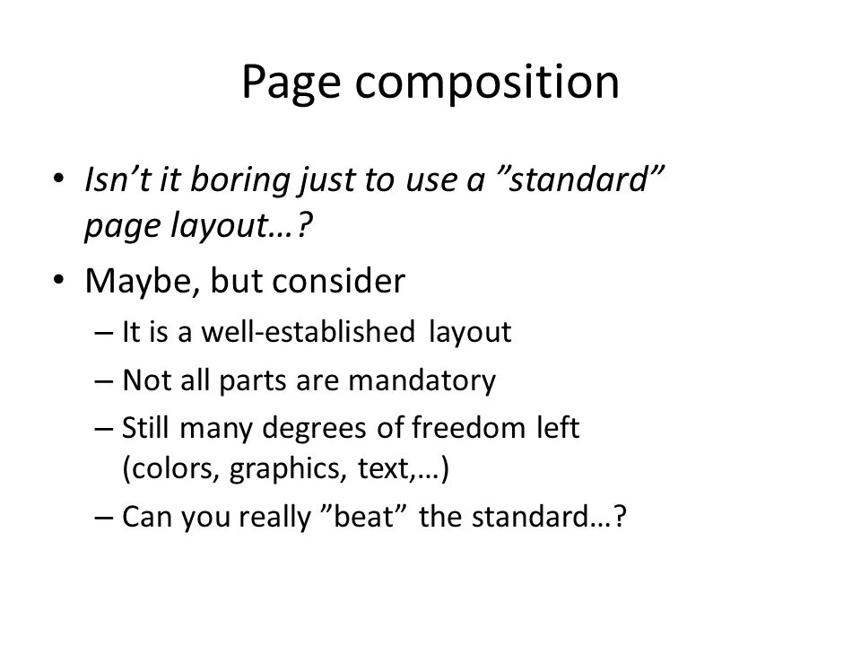 Page composition Isn't it boring just to use a standard page layout….