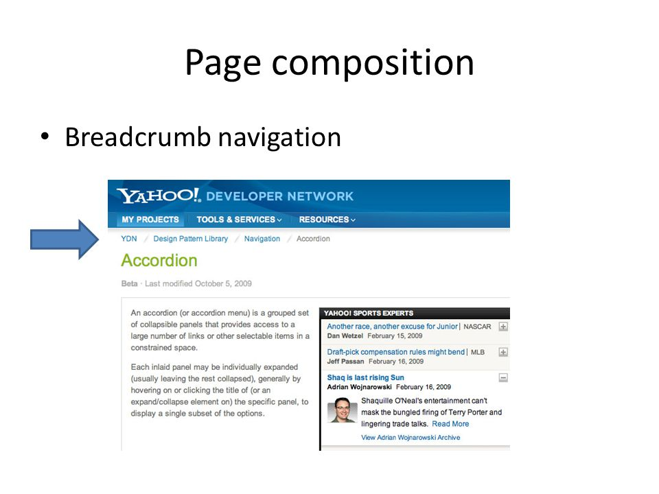 Page composition Breadcrumb navigation