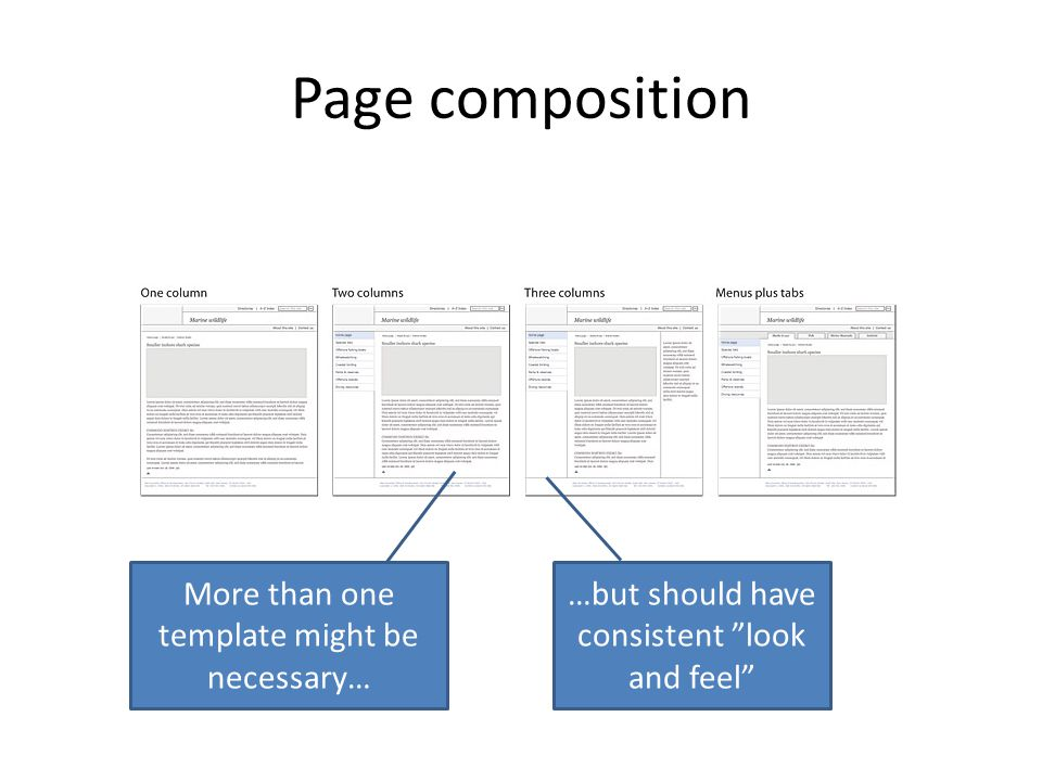 Page composition More than one template might be necessary… …but should have consistent look and feel