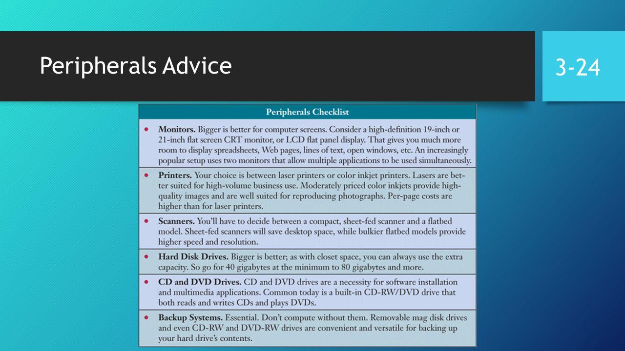 Peripherals Advice 3-24
