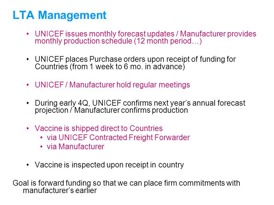 UNICEFType your title in this FOOTER area and in CAPS LTA Management UNICEF issues monthly forecast updates / Manufacturer provides monthly production
