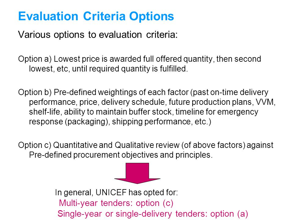 UNICEFType your title in this FOOTER area and in CAPS Evaluation Criteria Options Various options to evaluation criteria: Option a) Lowest price is aw