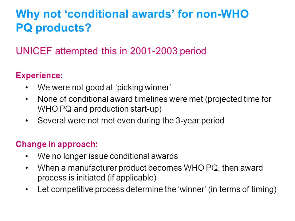 UNICEFType your title in this FOOTER area and in CAPS UNICEF attempted this in 2001-2003 period Experience: We were not good at 'picking winner' None