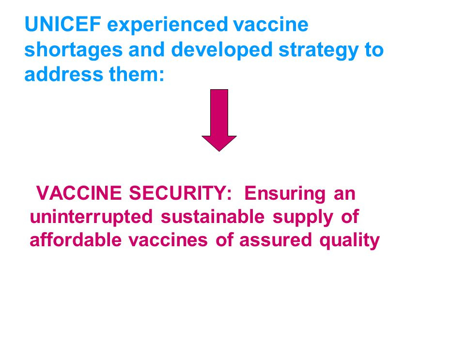 UNICEFType your title in this FOOTER area and in CAPS UNICEF experienced vaccine shortages and developed strategy to address them: VACCINE SECURITY: E