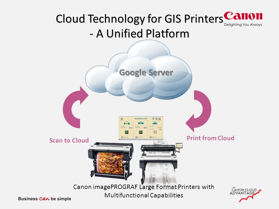 Cloud Technology for GIS Printers - A Unified Platform Scan to Cloud Print from Cloud Google Server Canon imagePROGRAF Large Format Printers with Multifunctional Capabilities