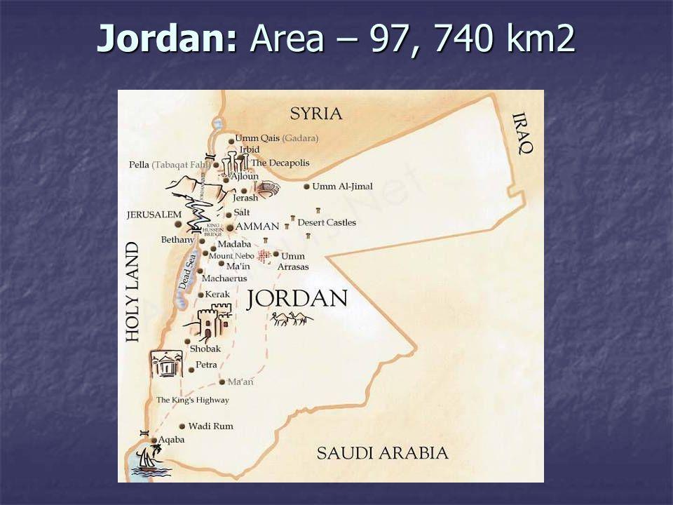 Jordan: Area – 97, 740 km2