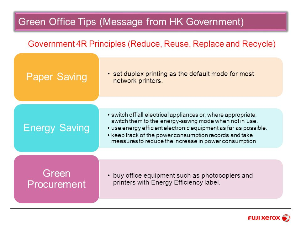 Green Office Tips (Message from HK Government) Government 4R Principles (Reduce, Reuse, Replace and Recycle)