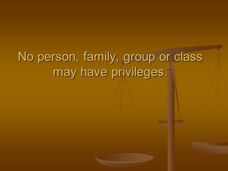 No person, family, group or class may have privileges.
