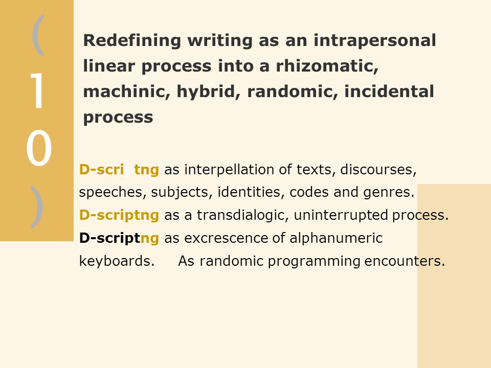 (10)(10) D-scriptng as interpellation of texts, discourses, speeches, subjects, identities, codes and genres.