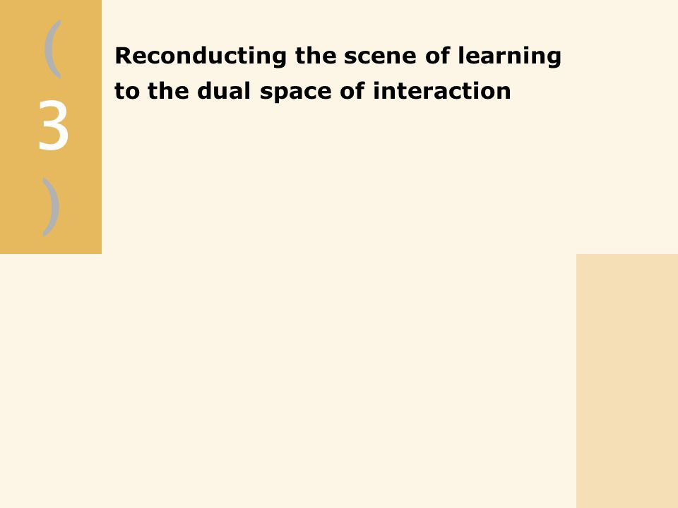 Reconducting the scene of learning to the dual space of interaction (3)(3)