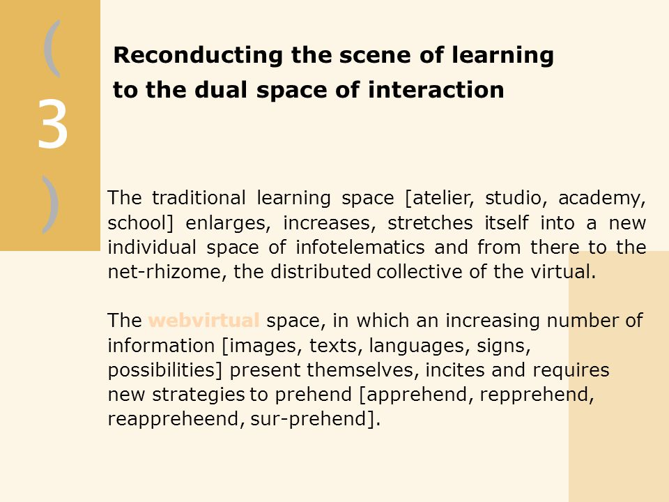 (3)(3) Reconducting the scene of learning to the dual space of interaction The traditional learning space [atelier, studio, academy, school] enlarges, increases, stretches itself into a new individual space of infotelematics and from there to the net-rhizome, the distributed collective of the virtual.