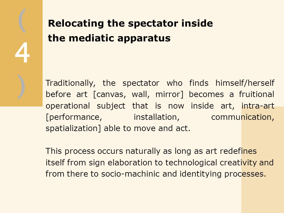 (4)(4) Traditionally, the spectator who finds himself/herself before art [canvas, wall, mirror] becomes a fruitional operational subject that is now inside art, intra-art [performance, installation, communication, spatialization] able to move and act.