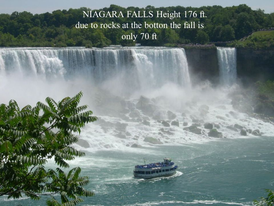 NIAGARA FALLS Height 176 ft. due to rocks at the botton the fall is only 70 ft