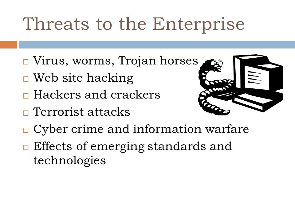 Threats to the Enterprise  Virus, worms, Trojan horses  Web site hacking  Hackers and crackers  Terrorist attacks  Cyber crime and information warfare  Effects of emerging standards and technologies