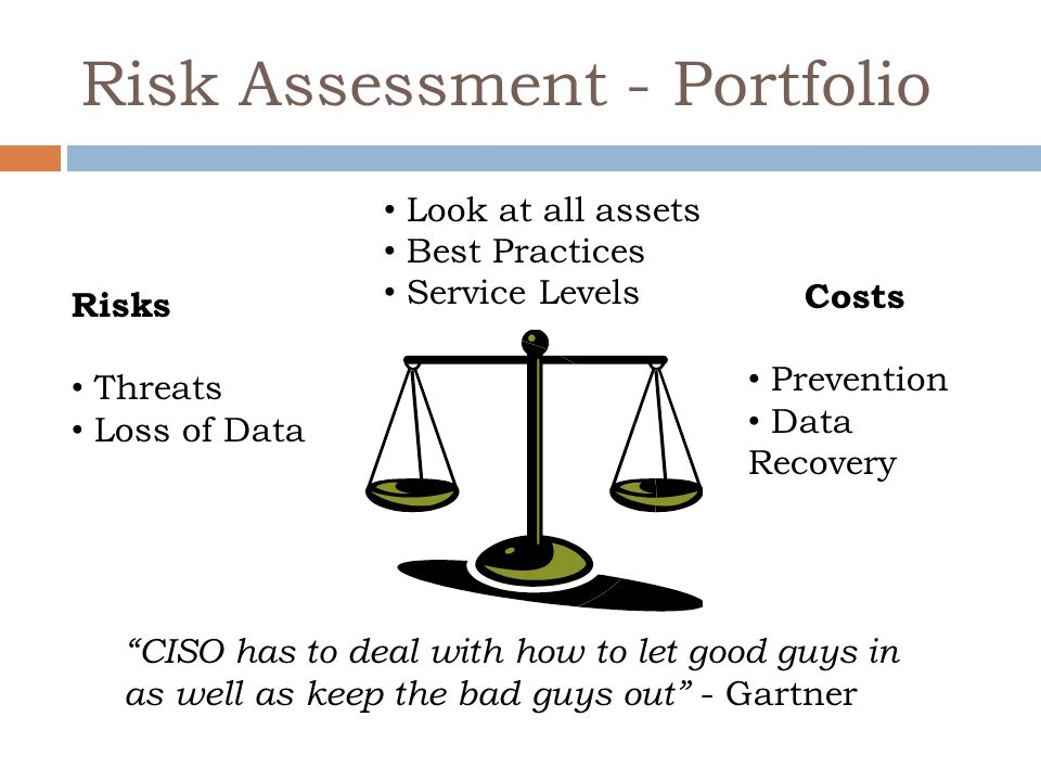 """Risk Assessment - Portfolio Risks Threats Loss of Data Costs Prevention Data Recovery Look at all assets Best Practices Service Levels """"CISO has to de"""