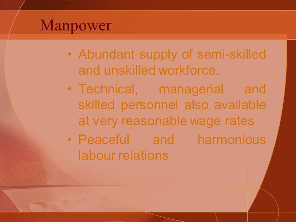 Manpower Abundant supply of semi-skilled and unskilled workforce.