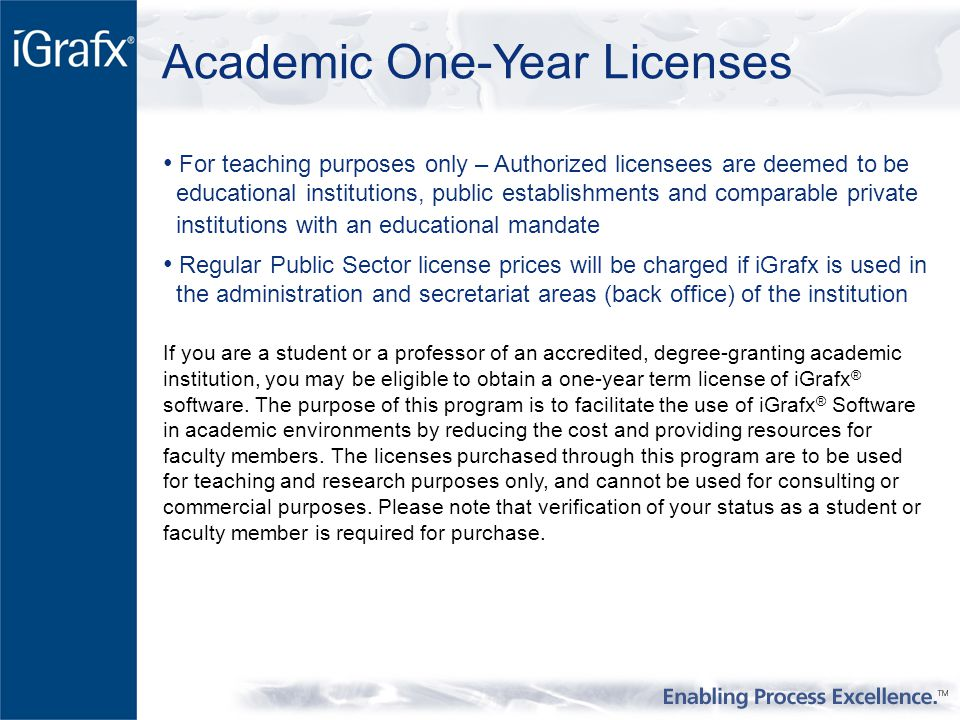 Academic One-Year Licenses For teaching purposes only – Authorized licensees are deemed to be educational institutions, public establishments and comparable private institutions with an educational mandate Regular Public Sector license prices will be charged if iGrafx is used in the administration and secretariat areas (back office) of the institution If you are a student or a professor of an accredited, degree-granting academic institution, you may be eligible to obtain a one-year term license of iGrafx ® software.