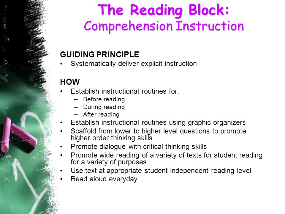 The Reading Block: Comprehension Instruction GUIDING PRINCIPLE Systematically deliver explicit instruction HOW Establish instructional routines for: –Before reading –During reading –After reading Establish instructional routines using graphic organizers Scaffold from lower to higher level questions to promote higher order thinking skills Promote dialogue with critical thinking skills Promote wide reading of a variety of texts for student reading for a variety of purposes Use text at appropriate student independent reading level Read aloud everyday