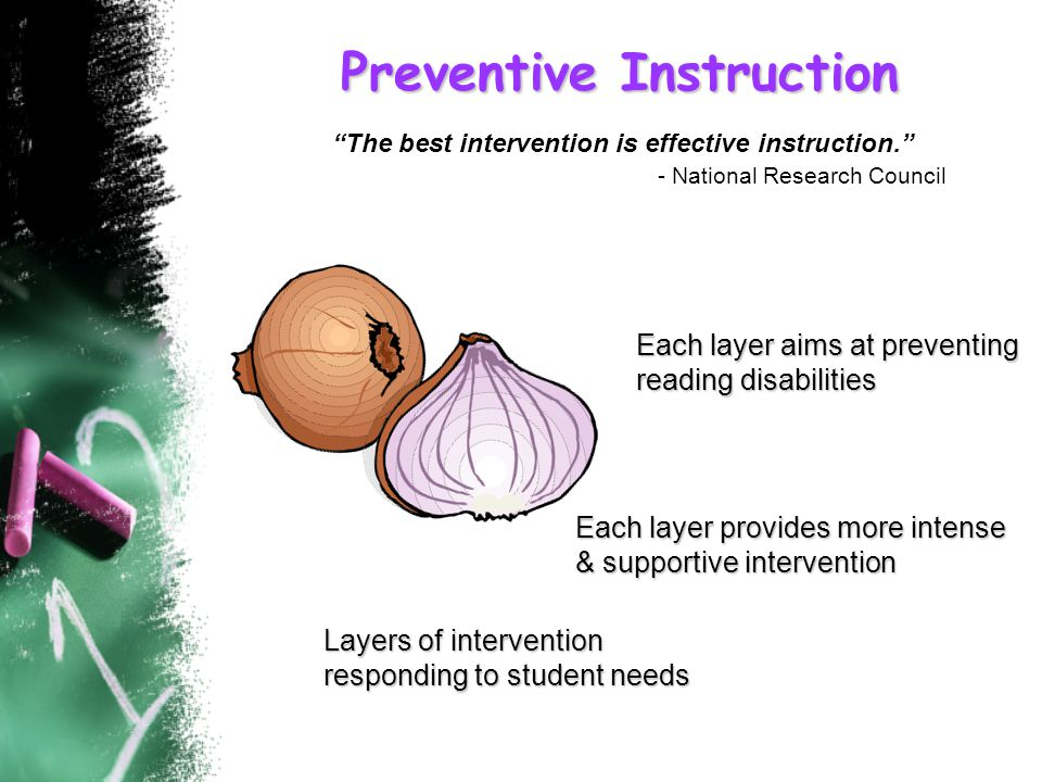 Layers of intervention responding to student needs Each layer provides more intense & supportive intervention Each layer aims at preventing reading disabilities TIER II Preventive Instruction The best intervention is effective instruction. - National Research Council