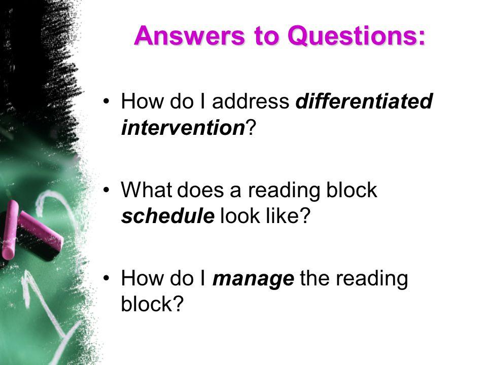 How do I manage the reading block.