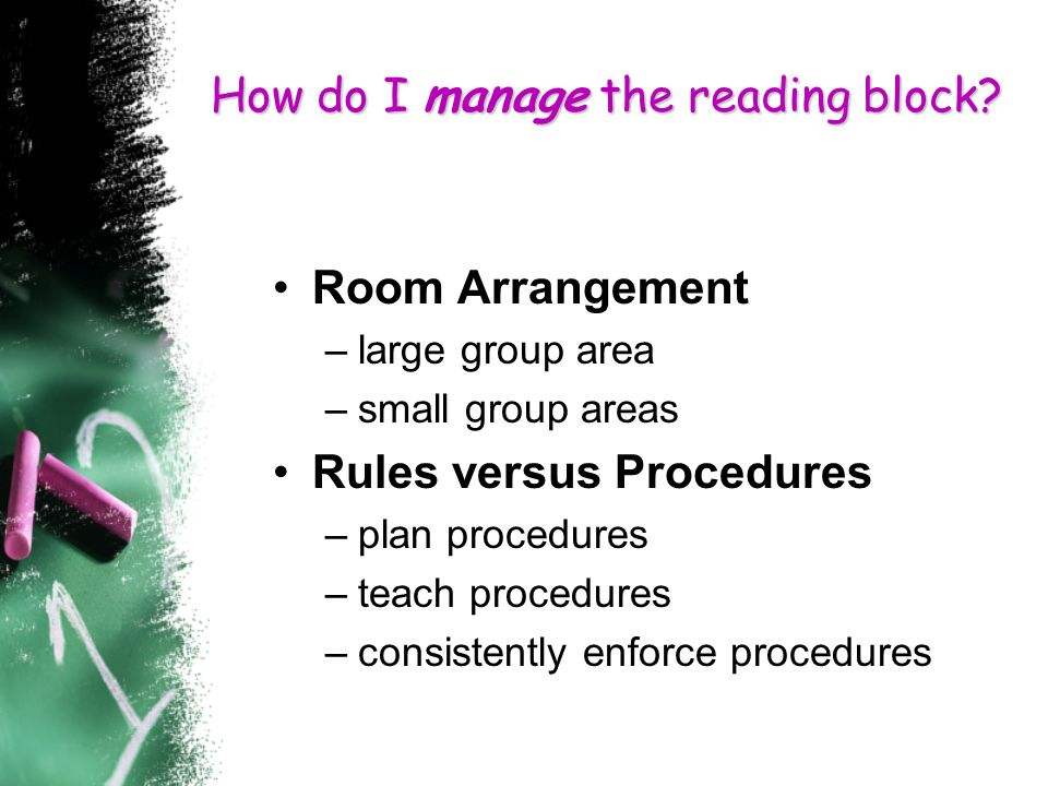 How do I manage the reading block.