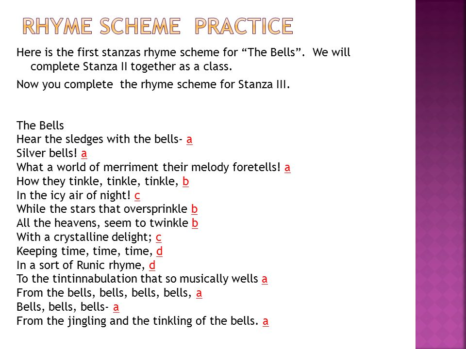 Here is the first stanzas rhyme scheme for The Bells .