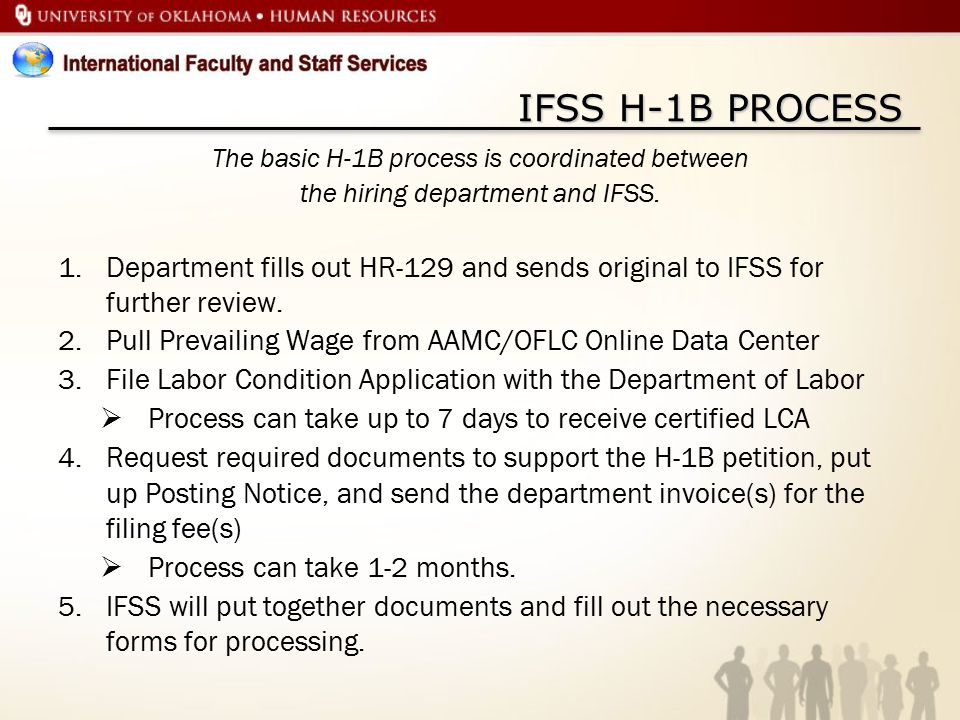 IFSS H-1B PROCESS The basic H-1B process is coordinated between the hiring department and IFSS.