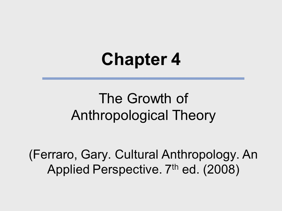 Anthropological Theories and Their Proponents SchoolMajor AssumptionAdvocates Psychological anthropology Show the relationship among psychological and cultural variables.
