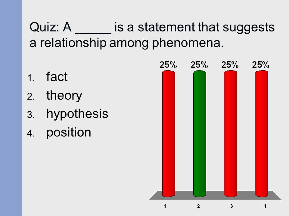 Answer: 2 A theory is a statement that suggests a relationship among phenomena.