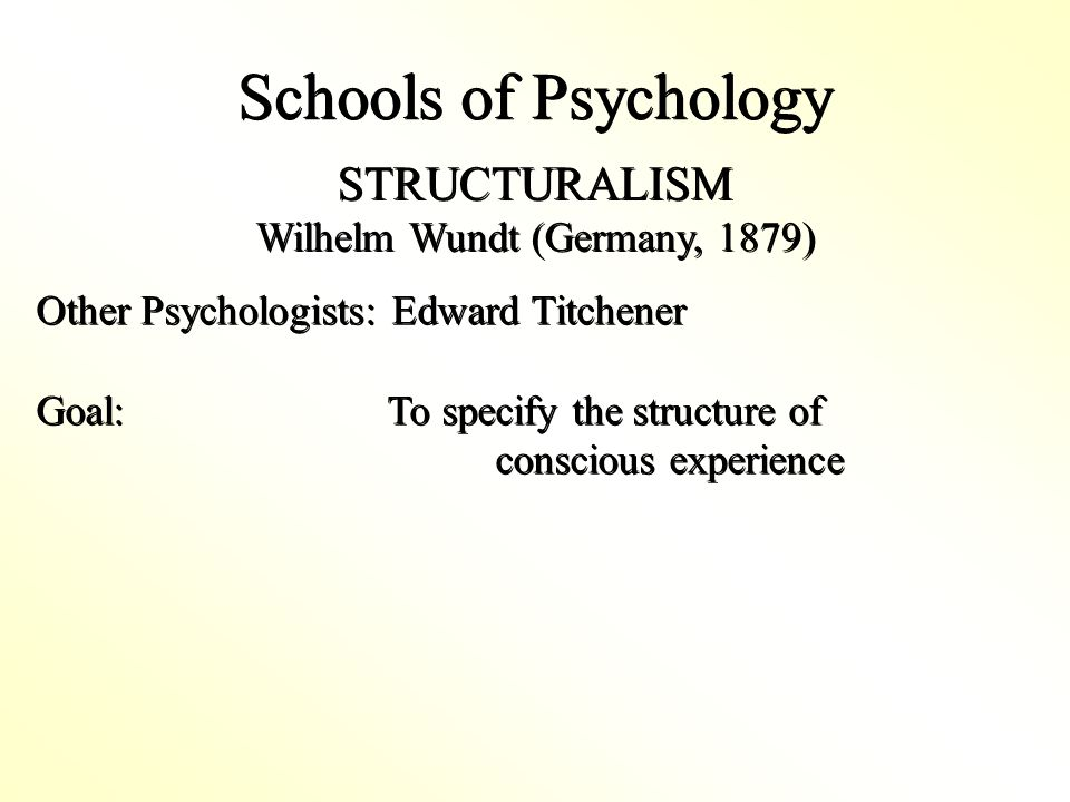Schools of Psychology Other Psychologists: Edward Titchener Goal: To specify the structure of conscious experience Other Psychologists: Edward Titchener Goal: To specify the structure of conscious experience STRUCTURALISM Wilhelm Wundt (Germany, 1879) STRUCTURALISM Wilhelm Wundt (Germany, 1879)