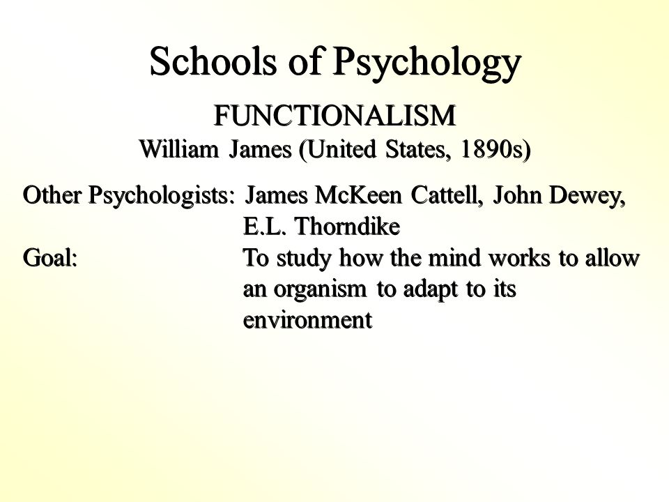 Schools of Psychology FUNCTIONALISM William James (United States, 1890s) FUNCTIONALISM William James (United States, 1890s) Other Psychologists: James McKeen Cattell, John Dewey, E.L.