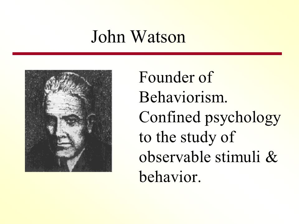 John Watson Founder of Behaviorism.