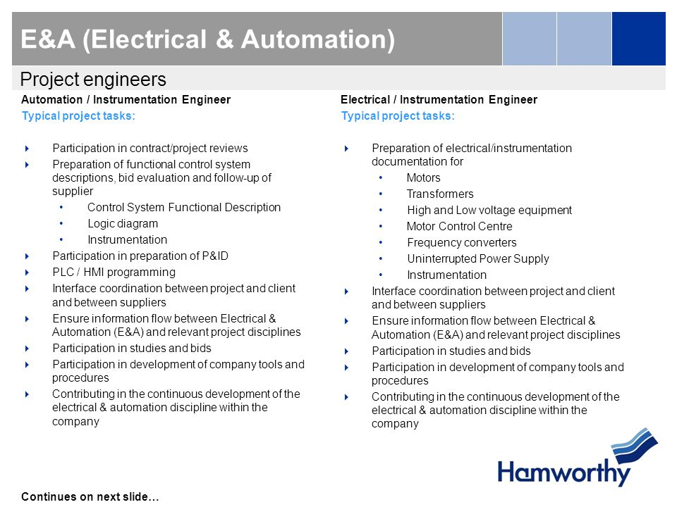 E&A (Electrical & Automation) Automation / Instrumentation Engineer Typical project tasks:  Participation in contract/project reviews  Preparation of functional control system descriptions, bid evaluation and follow-up of supplier Control System Functional Description Logic diagram Instrumentation  Participation in preparation of P&ID  PLC / HMI programming  Interface coordination between project and client and between suppliers  Ensure information flow between Electrical & Automation (E&A) and relevant project disciplines  Participation in studies and bids  Participation in development of company tools and procedures  Contributing in the continuous development of the electrical & automation discipline within the company Continues on next slide… Project engineers Electrical / Instrumentation Engineer Typical project tasks:  Preparation of electrical/instrumentation documentation for Motors Transformers High and Low voltage equipment Motor Control Centre Frequency converters Uninterrupted Power Supply Instrumentation  Interface coordination between project and client and between suppliers  Ensure information flow between Electrical & Automation (E&A) and relevant project disciplines  Participation in studies and bids  Participation in development of company tools and procedures  Contributing in the continuous development of the electrical & automation discipline within the company