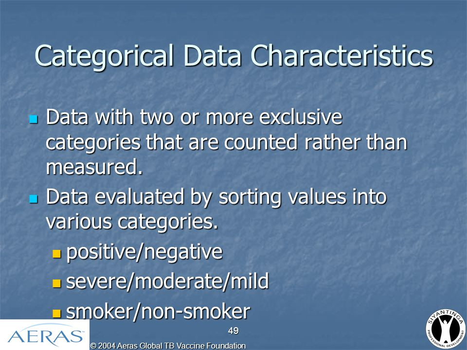 © 2004 Aeras Global TB Vaccine Foundation 50 Activity: What type of data are the following?