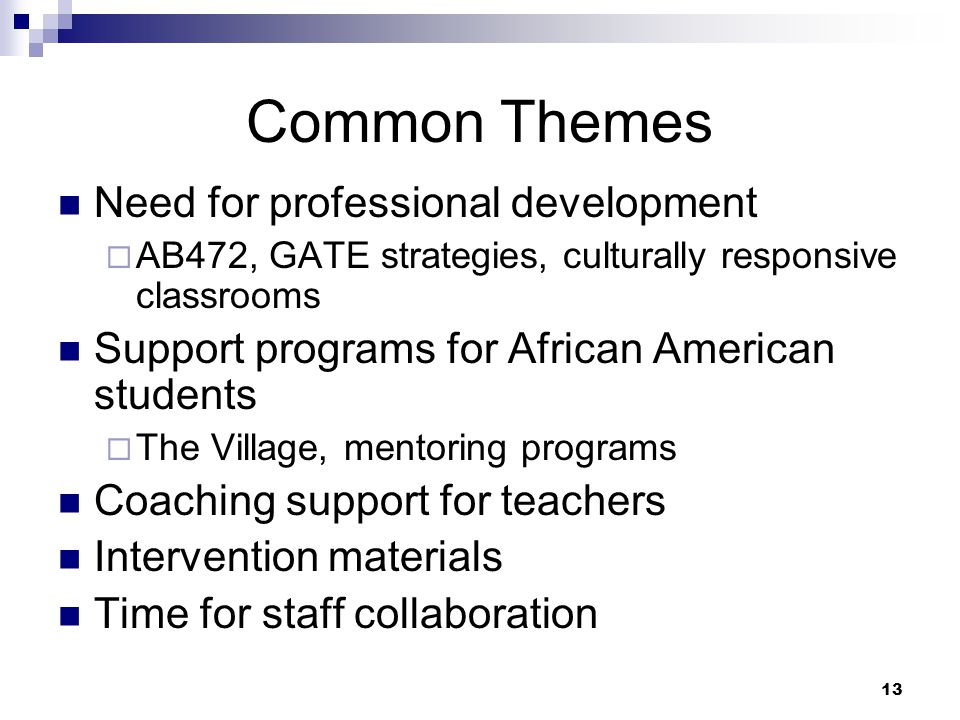 13 Common Themes Need for professional development  AB472, GATE strategies, culturally responsive classrooms Support programs for African American students  The Village, mentoring programs Coaching support for teachers Intervention materials Time for staff collaboration