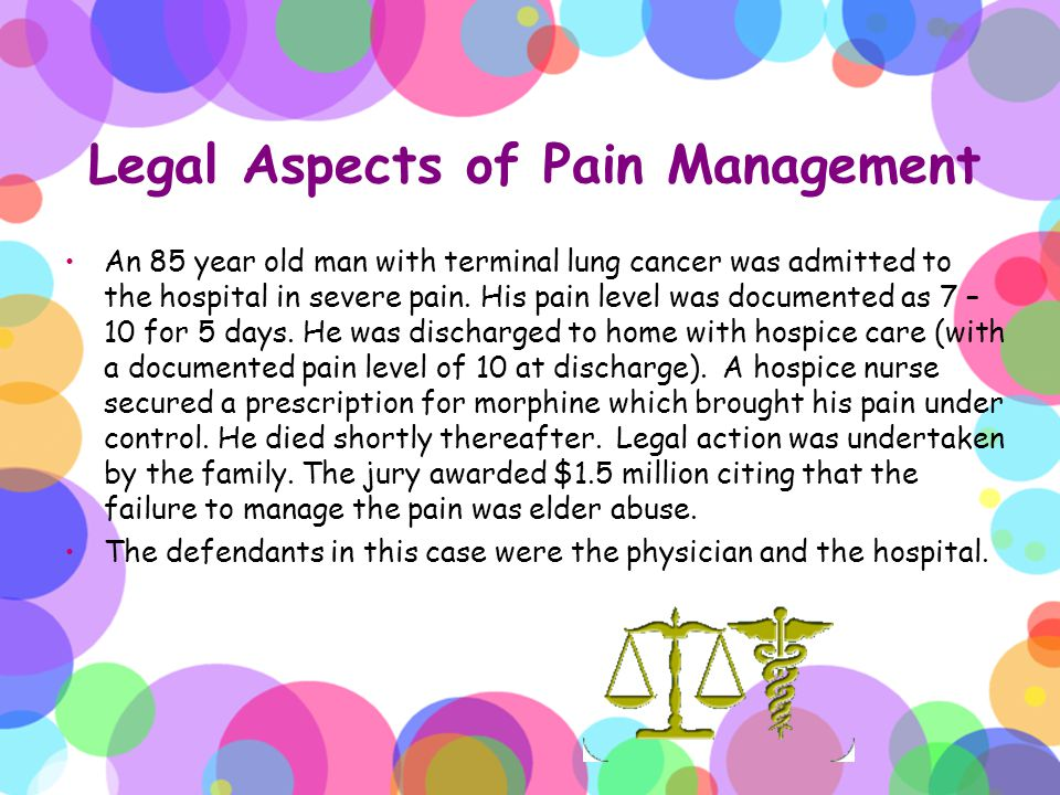 Legal Aspects of Pain Management An 85 year old man with terminal lung cancer was admitted to the hospital in severe pain. His pain level was document