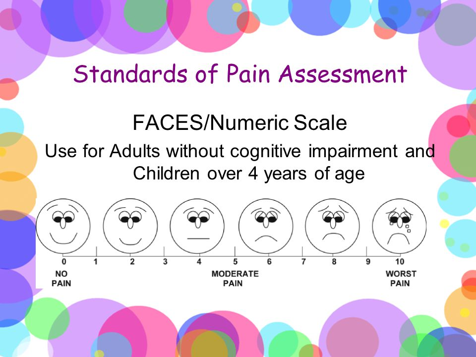 Standards of Pain Assessment FACES/Numeric Scale Use for Adults without cognitive impairment and Children over 4 years of age INSERT SCALE