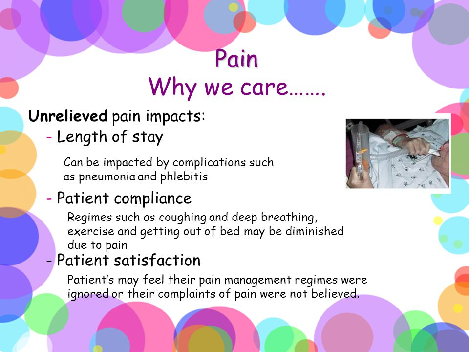 Pain Pain Why we care……. Unrelieved pain impacts: - Length of stay - Patient compliance - Patient satisfaction Can be impacted by complications such a